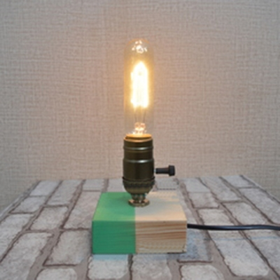 Industrial Mini Table Lamp with Colorful Lamp Base in Open Bulb Style
