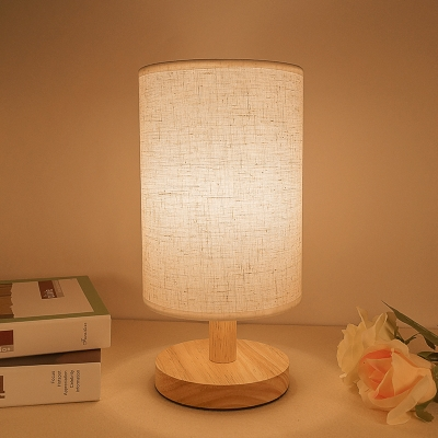 Industrial Vintage Table Lamp with Cylinder Fabric Shade and Wooden Lamp Base