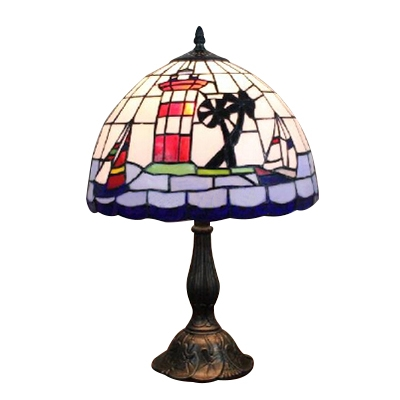 Dome Shaped Table Lamp Tiffany Nautical Style Stained Glass Sailboat Table Lights in White and Blue