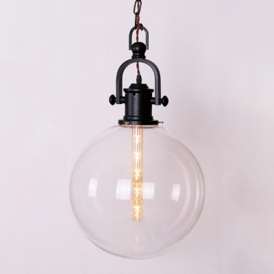 1 Head Global Hanging Lamp Industrial Vintage Closed Glass Shade Pendant Light in Black, HL463740