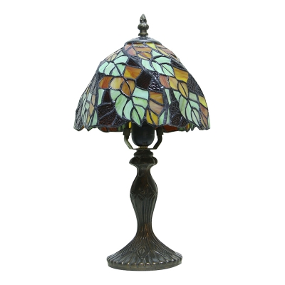 Vintage 16.5''H Tiffany Leaf Pattern Table Lamp in Colorful Glass Shade