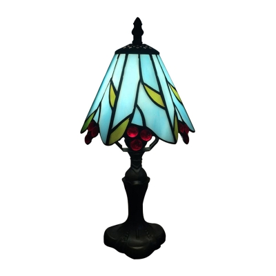 Tiffany Floral Theme 6.3''W Table Lamp with Stained Glass Shade 2 Designs for Option