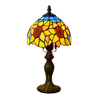 """Купить со скидкой 14""""H 1-Light Table Lamp with Floral Glass Shade in Yellow, Tiffany Style"""