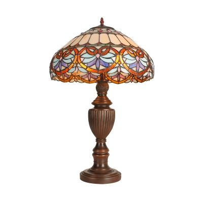 Traditional Tiffany Umbrella Shaped Table Lamp Stained Glass Single Light Table Lights in Metal Base