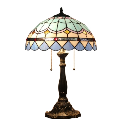 Brightly Hued Dome Glass Shade, 2 Light Table Lamp with Tiffany Blue Glass in Baroque Style, 16