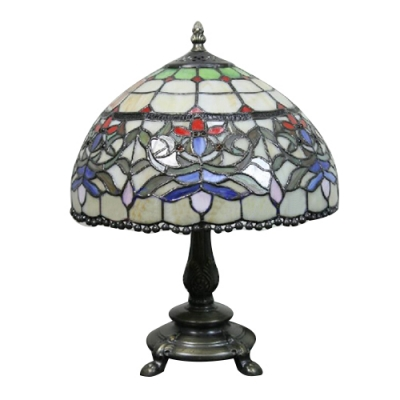 Baroque Clic Art Dome Shade Table Lamp Tiffany 12 W Colorful Stained Gl Desk For Bedroom Or Living Room
