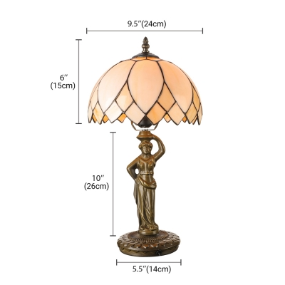 Lotus Shaped Table Lamp Down Lighting Tiffany White Glass Shade, 12