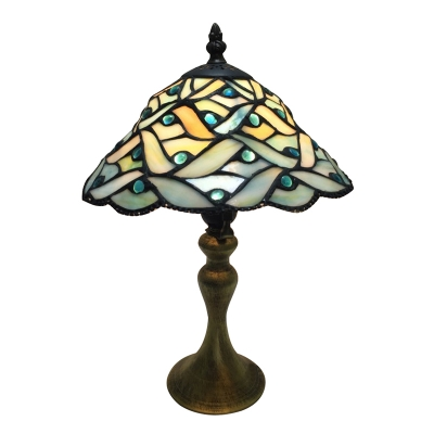 "Image of ""10"""" W Table Lamp, Tiffany Conical Glass Shade in Green Finish"""