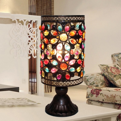 Tiffany-Style Table Lamp with Colorful Brilliant Beads Drum Shade for Living Room (2 Options Available)