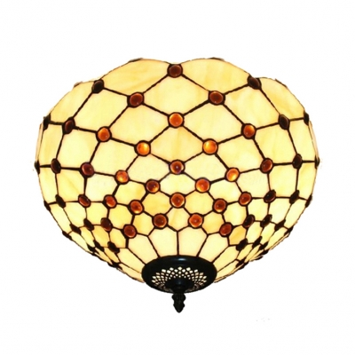 """12"""" Wide Tiffany Art Glass and Bowl Shade Flush Mount Ceiling Light in White, Two Light"""