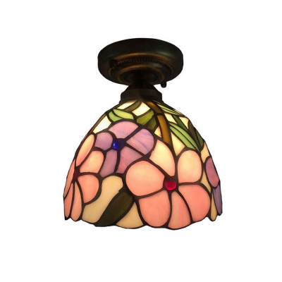 Floral Dome Shaped Tiffany-Style Semi Flush Ceiling Light with Art Glass Shade, 8