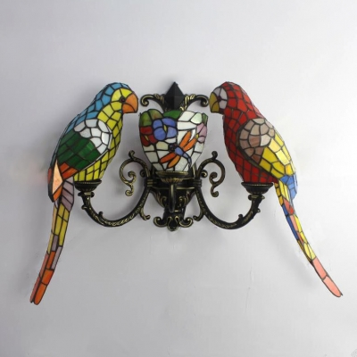Three Light Wall Sconce with Tiffany Colorful Parrot Shaped Shade, 27