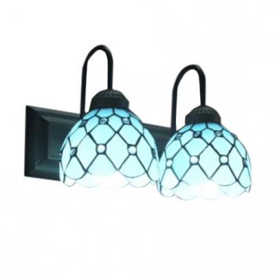 16-Inch Wide Tiffany Style 2-Light Double Wall Sconce with Blue Dome Glass Shade