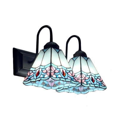 Vintage Tiffany White&Blue Stained Glass Shade Wall Sconce, 2 Light