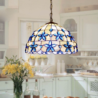 3-Light Tiffany Style Pendant Light with Floral Dome Glass Shade in White & Blue