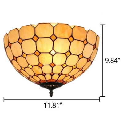 12-Inch Wide Two Light Flush Mount Ceiling Fixture Up Lighting with Tiffany White Stained Glass Lampshade