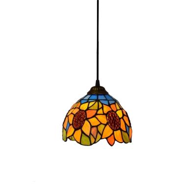 Sunflower Theme Down Lighting Tiffany Mini Pendant Light In 6 W