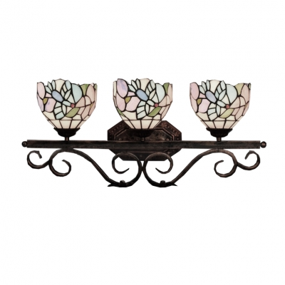 Tiffany-Style Bird and Flower Theme Colorful Glass Lampshade Wall Sconce, 25
