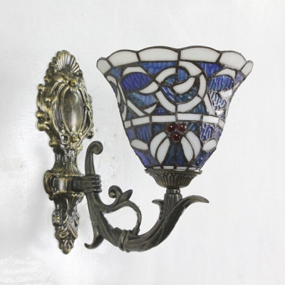 Upward Tiffany Style Bell Design Wall Sconce with Colorful Glass Shade, 8