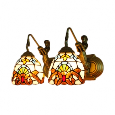 Classic Art Baroque Tiffany-Style Wall Lamp with Dome Glass Shade