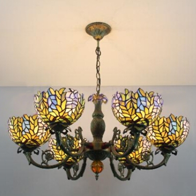 6 Light Leaves Tiffany Style Handmade Glass Shade Chandelier in Bronze