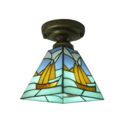 Colorful Flush Mount Ceiling Light with Tiffany Art Glass in Nautial Style, 8