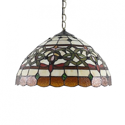 Baroque Style 2-Light Ceiling Pendant Fixture with Tiffany Dome Shaped Glass Shade, Multicolored, 16-Inch Wide
