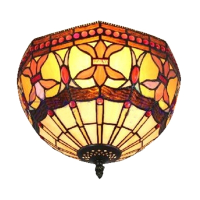 Vintage Flush Mount Lamp Up Lighting in Tiffany Style with Colorful Glass Lampshade, 12
