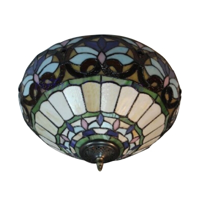 Tiffany-Style 16 In Wide Flush Mount Ceiling Fixture in Baroque Style, 2-Light, Multicolored