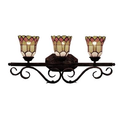 Tiffany Style Antique Art Upward Bell Shape Wall Sconce, 25