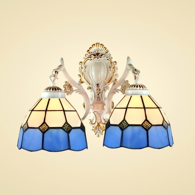 Simple Tiffany Wall Sconce with Blue and White Glass Shade, 9.4-Inch Wide