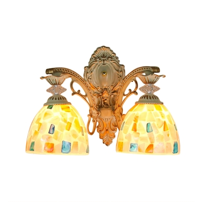 Tiffany-Style Dome Shaped Wall Sconce with Two Light in White