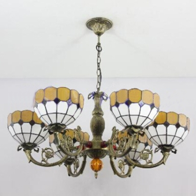 Yellow & White Jewel Tiffany Style 6-Light Inverted Chandelier in Antique Brass