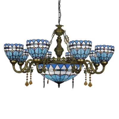 Tiffany Inverted Stained Glass Shade Nautical Style Chandelier with Center Bowl, 2 Sizes