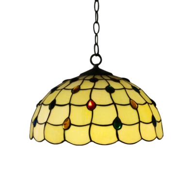 Yellow Dome Glass Shade with Multicolored Jewels Tiffany Vintage Ceiling Fixture 12