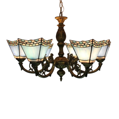 Tiffany 6-Light Chandelier in Mosaic Style with Light/Dark Blue Glass Shade