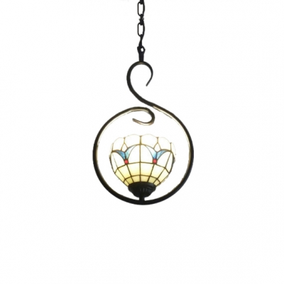 """Simple Bowl Shaped Shade Hanging Lamp, 15"""" H, Tiffany Vintage Floral Glass Shade in White"""