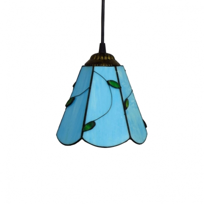 Blue Glass Shade Ceiling Fixture, Tiffany-Style 6