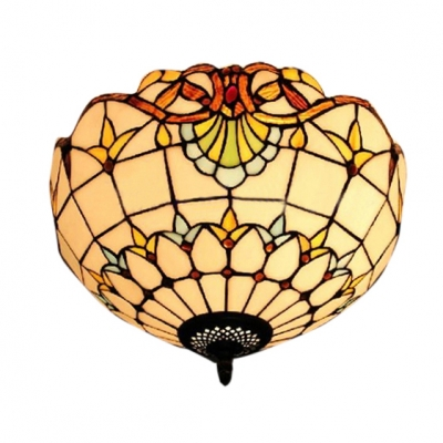 Image of 11.81/15.75 Inch Wide Tiffany Double Light Flush Mount Ceiling Light in Victorian Style