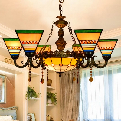 Tiffany Style 6 Light Triangle Glass Shade Hanging Chandelier with Bowl Pendant