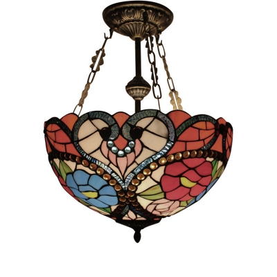 Classic Art Tiffany Three Light Semi-Flush Mount Ceiling Fixture, in Victorian Style, 16-Inch Wide