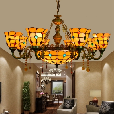 Vintage Tiffany Style 6/8 Arms Stained Glass Jewel Shade Ceiling Chandelier with 12