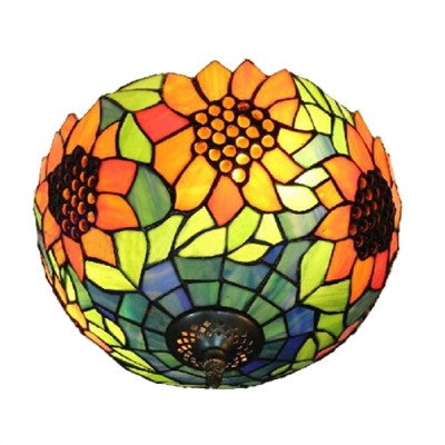 Sunflower Bowl Shaped Tiffany Style Flush Mount Ceiling Fixture, Two Light 12-Inch Wide Shade