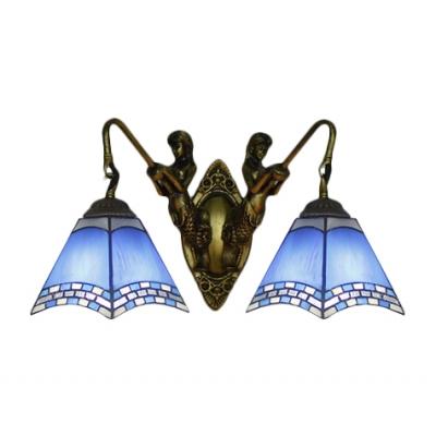 Фото #1: Nautical Style Pyramid Wall Lamp 2-Light Blue Glass Wall Sconce Lighting with Bronze Finish Mermaid