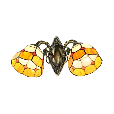 Two Light Double Wall Sconce with Orange Colored Glass Shade in Tiffany Style