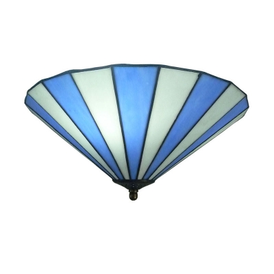 Blue & White Inverted Flush Mount Lamp with Tiffany-Style Glass Shade, 11.81/19.69 Inch Wide