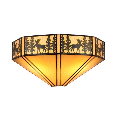 Single Light with Brown Stained Glass Shade Tiffany Style Deer 14