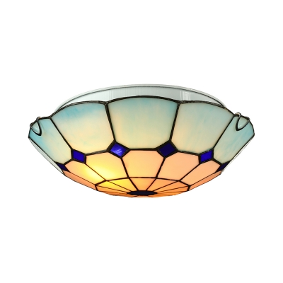 Brightly Hued Flush Mount Ceiling Light with 12