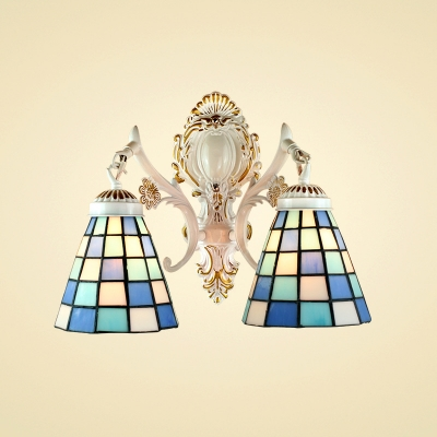9.4-Inch Wide Double Light Wall Sconce in Tiffany Art Glass Shade