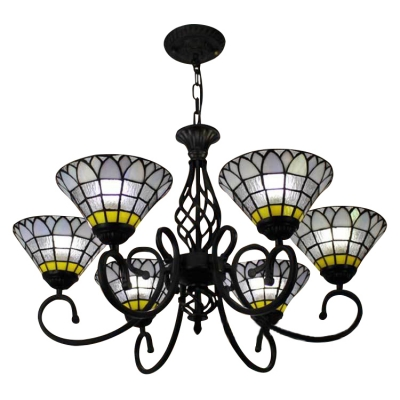 6 Light Tiffany-Style Frosted Stained Glass Shade Chandelier in Black